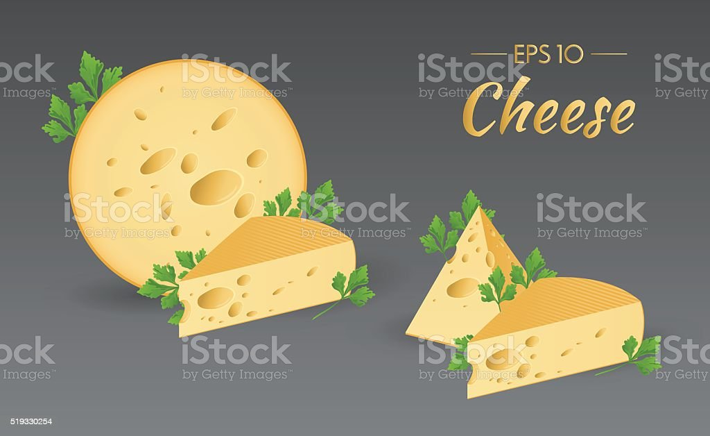 Cheese with parsley vector art illustration