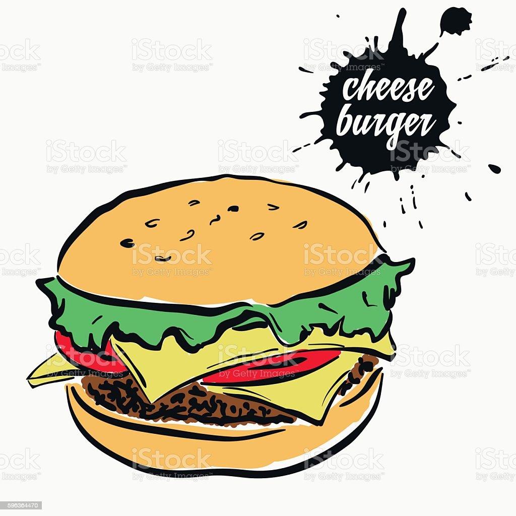 cheeseburger fast food stock vecteur libres de droits libre de droits