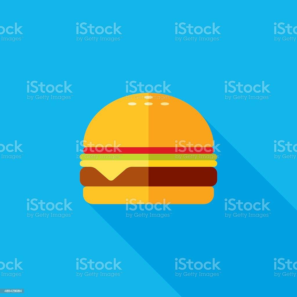 Cheeseburger Flat Long Shadow Icon vector art illustration