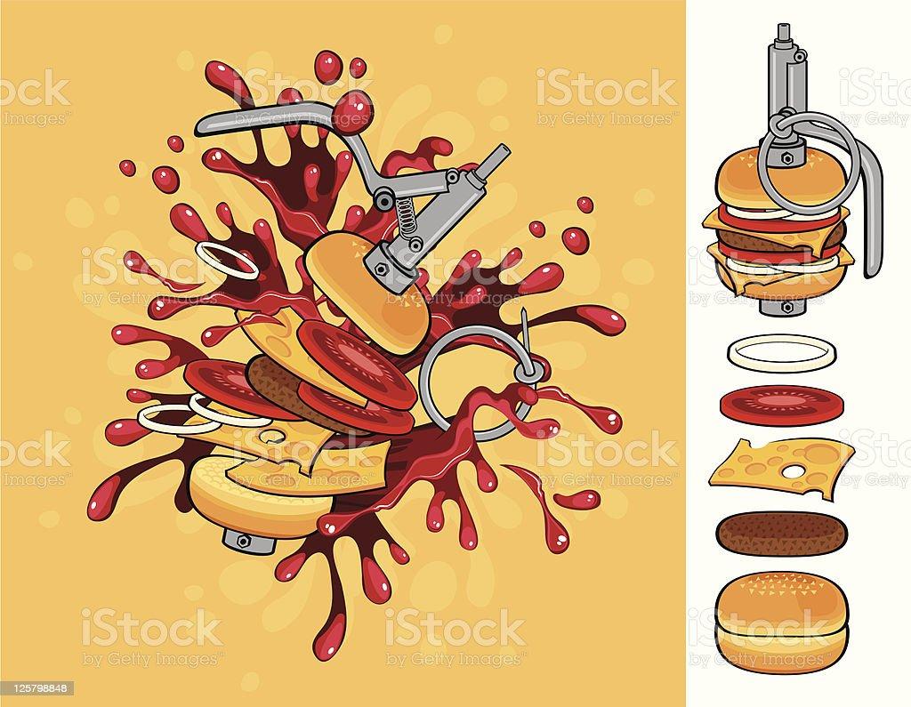 cheeseburger flavor grenade royalty-free stock vector art