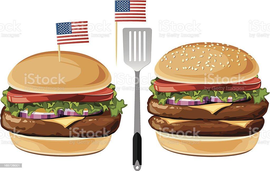Cheeseburger & Hamburger vector art illustration