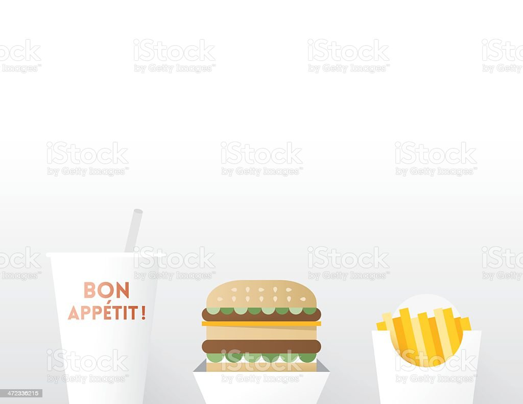 Cheeseburger with French Fries and Drink. Bon Appétit! royalty-free stock vector art