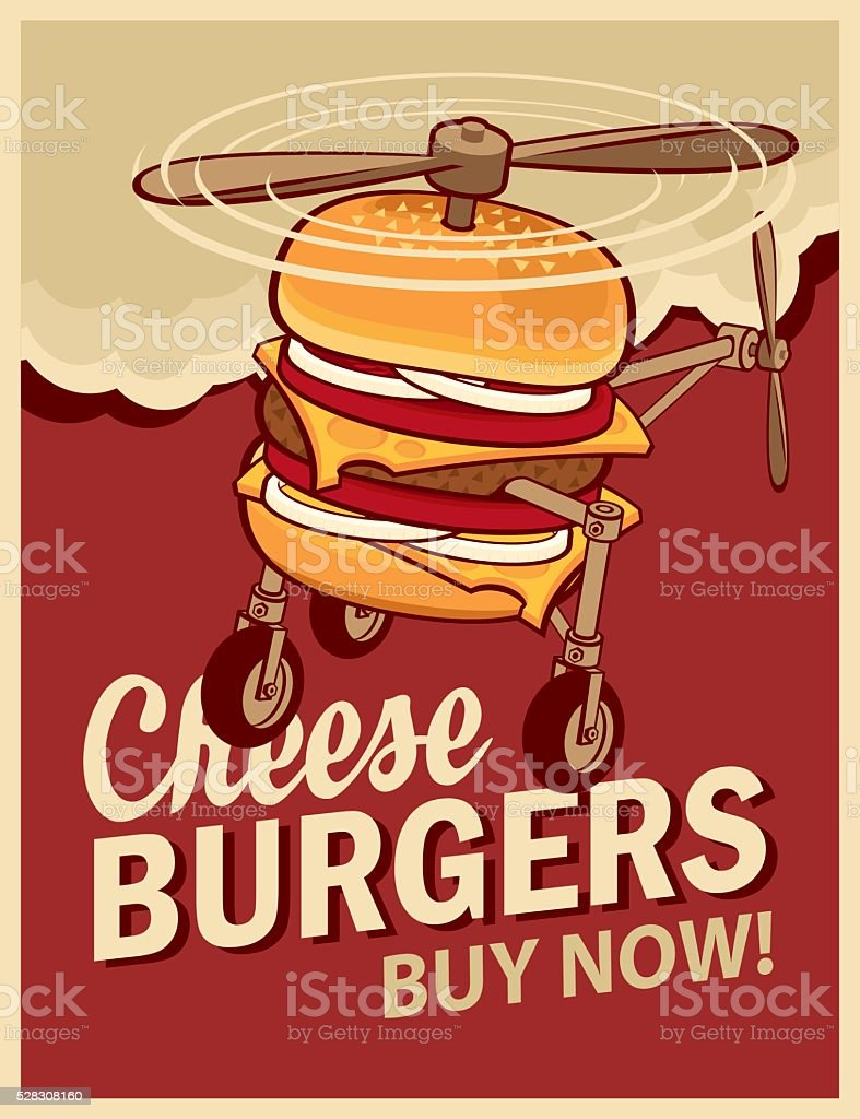 cheeseburger with wheels and a propeller vector art illustration