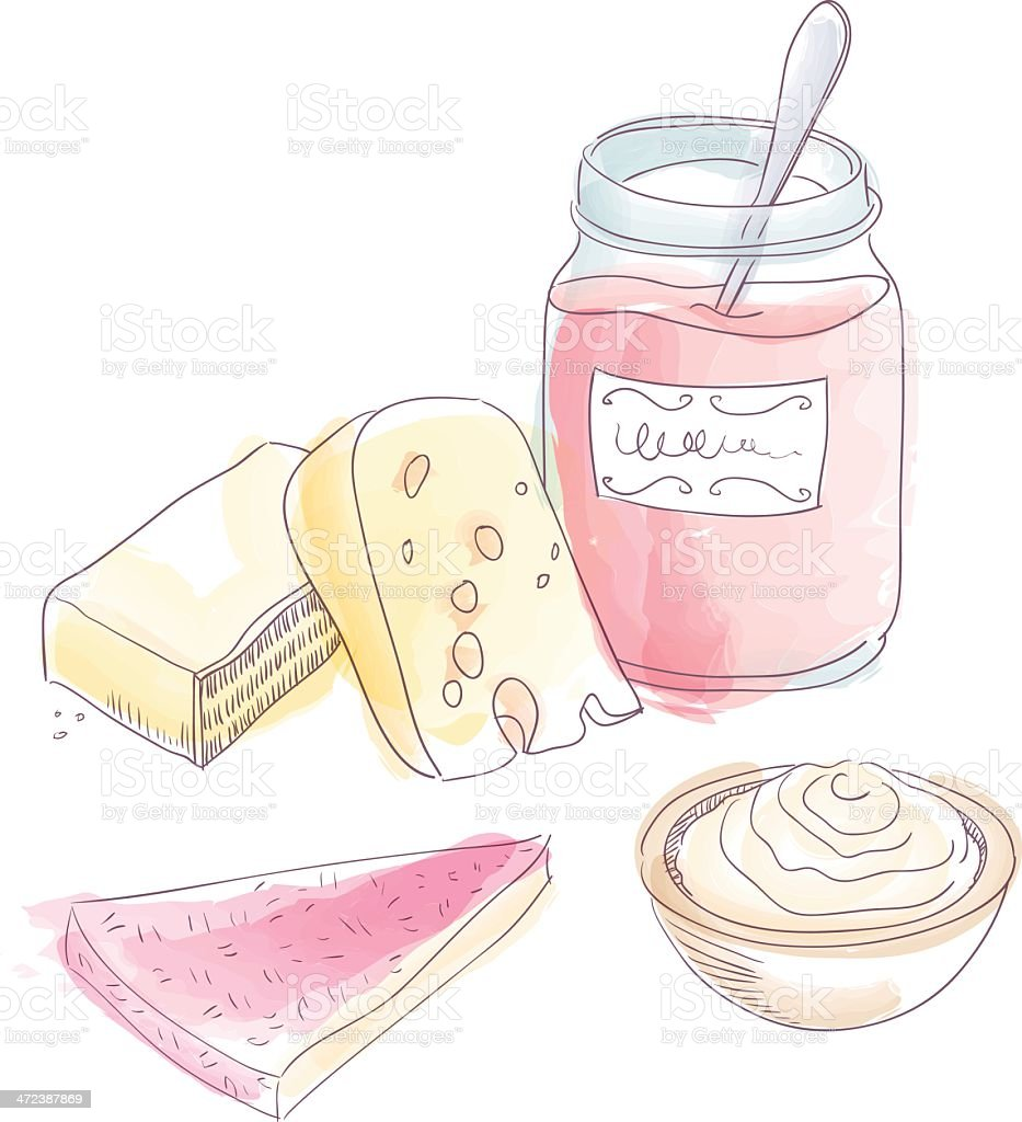 Cheesecake dessert vector art illustration