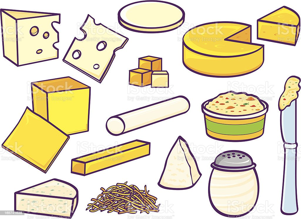 Cheeses vector art illustration