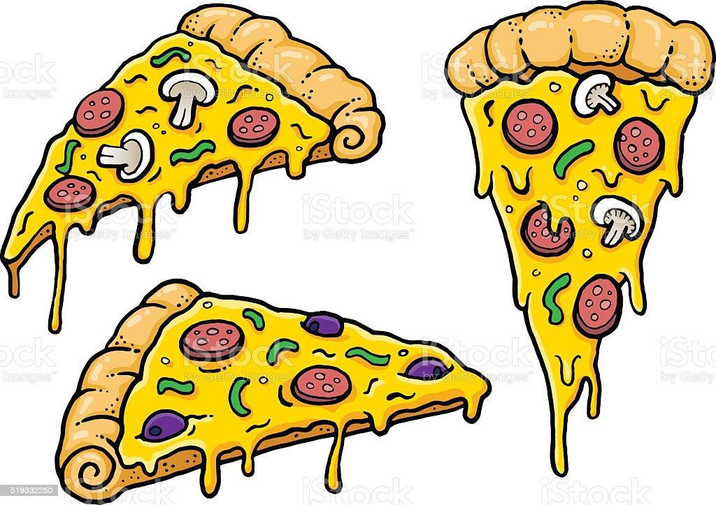 Cheesy Comic Pizza Slices vector art illustration