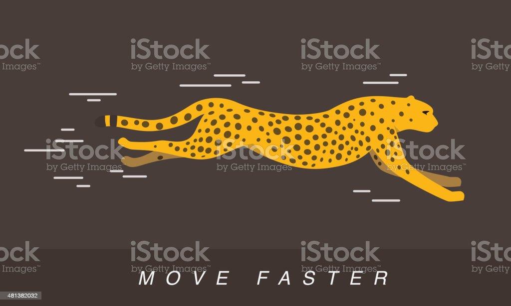 Cheetah running, side flat 3D icon design vector art illustration