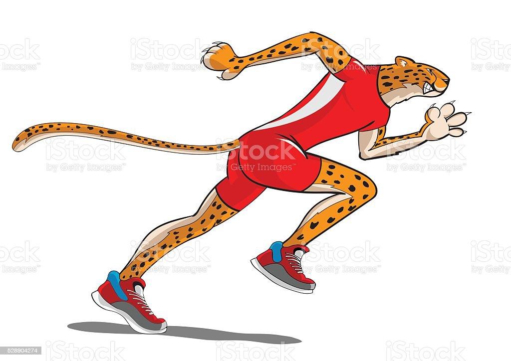 cheetah running vector art illustration
