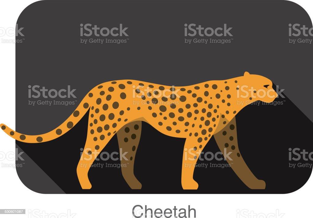 Cheetah walking side flat 3D icon design vector art illustration