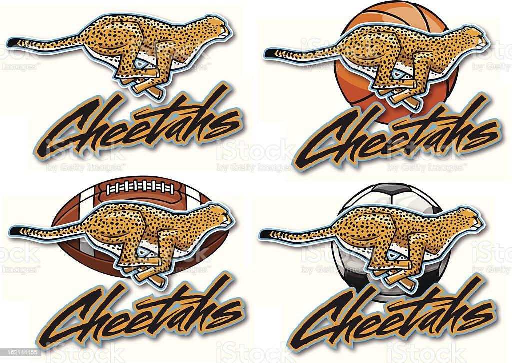 Cheetahs vector art illustration