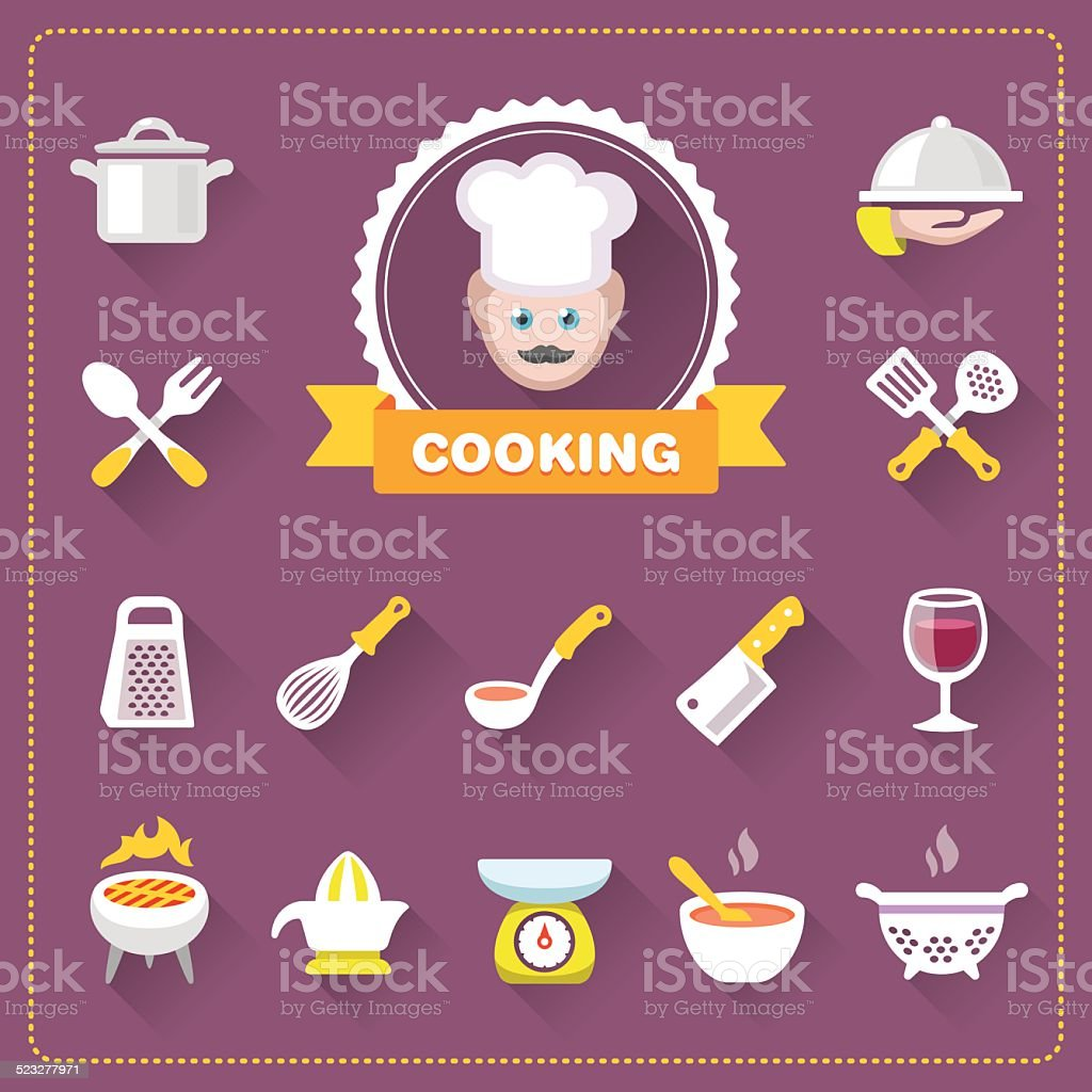 Chef and Cooking icon set vector art illustration
