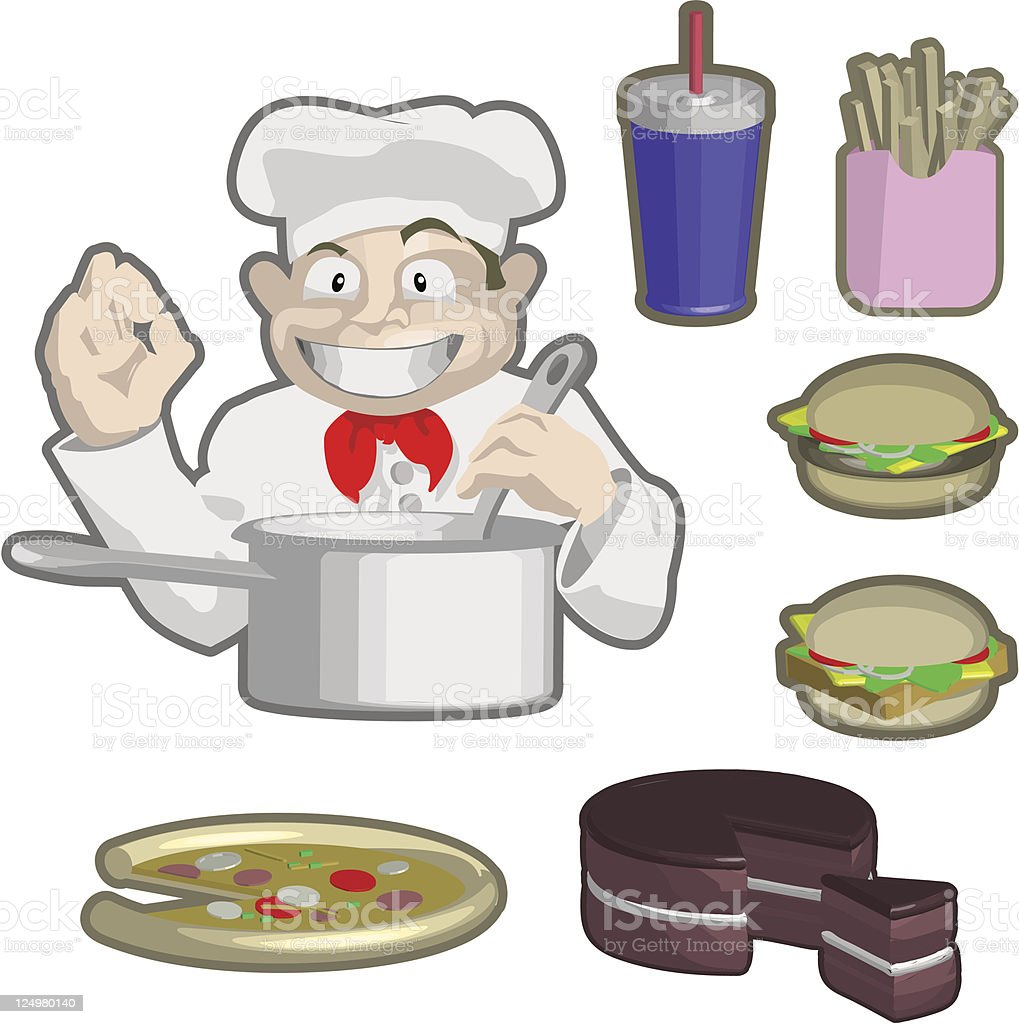 Chef and food royalty-free stock vector art