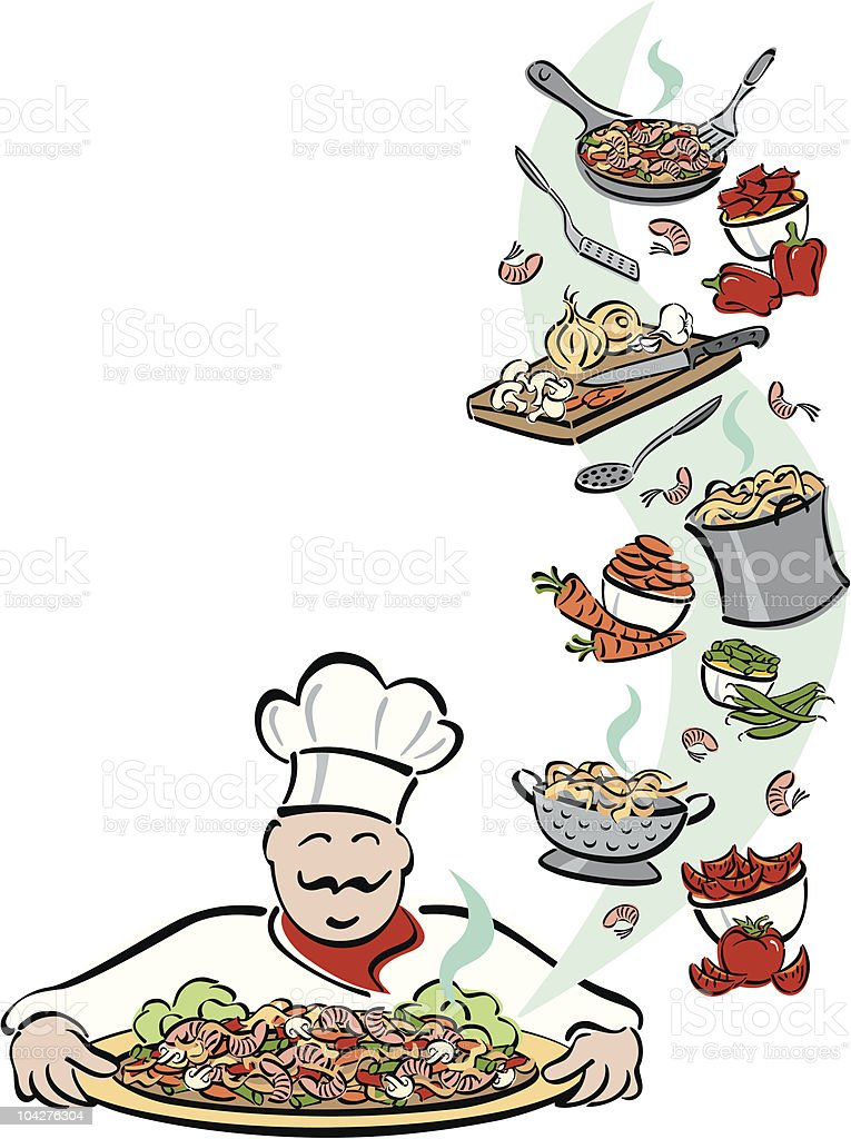 Chef and His Tools royalty-free stock vector art