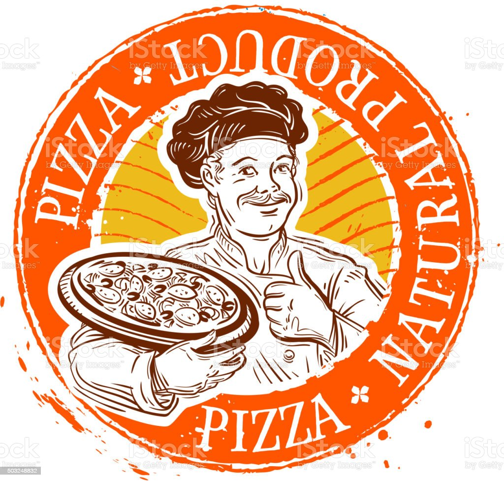 chef and pizza. stamp. vector illustration vector art illustration