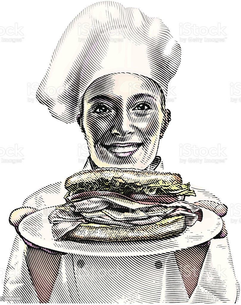 Chef and Sandwich vector art illustration