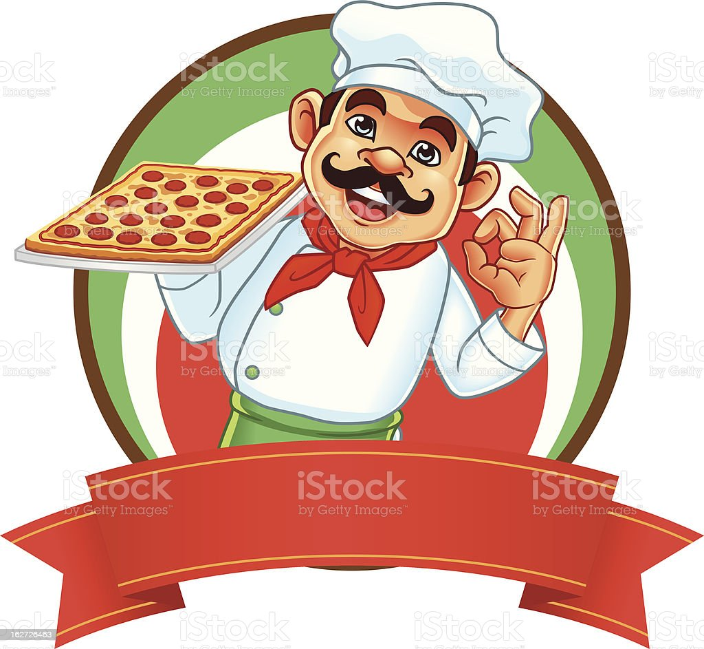Chef And Square Pizza Banner vector art illustration