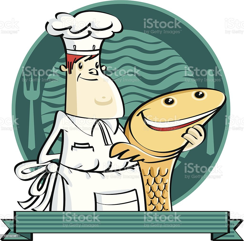 chef and victim vector art illustration