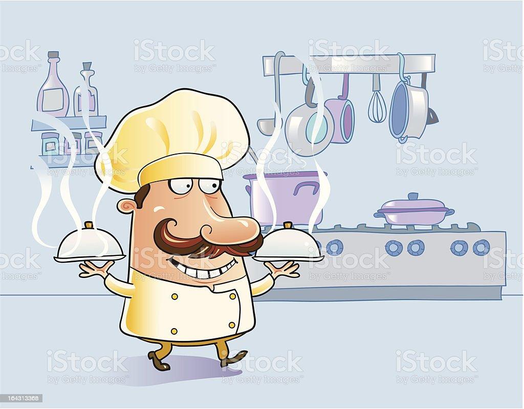 Chef cuisinier de dessin anim dans la cuisine avec des - Chef cuisinier dessin ...