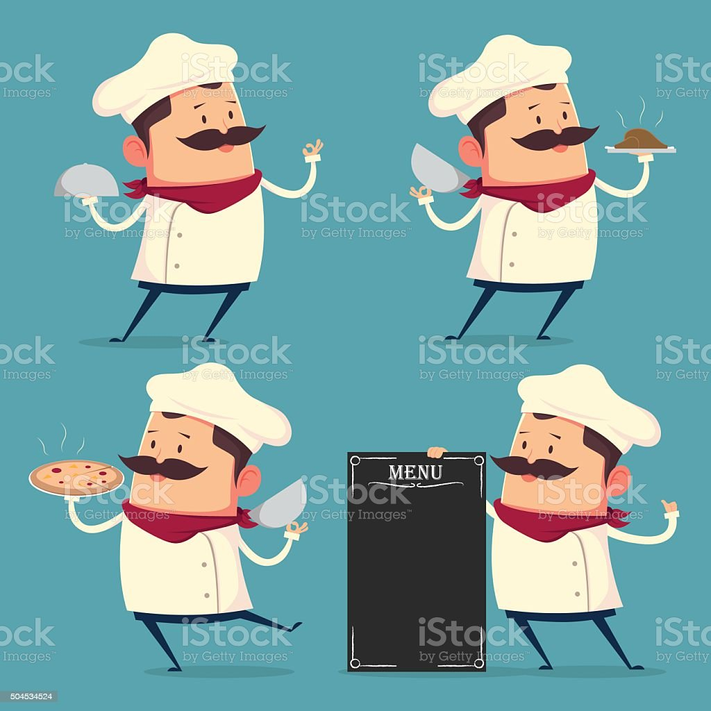 Chef cartoon set in retro style vector art illustration