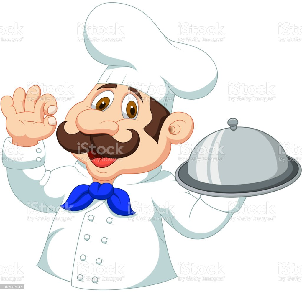 Chef cartoon with ok sign royalty-free stock vector art
