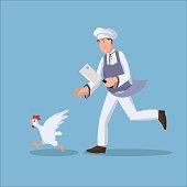 Chef chasing chicken flat illustration