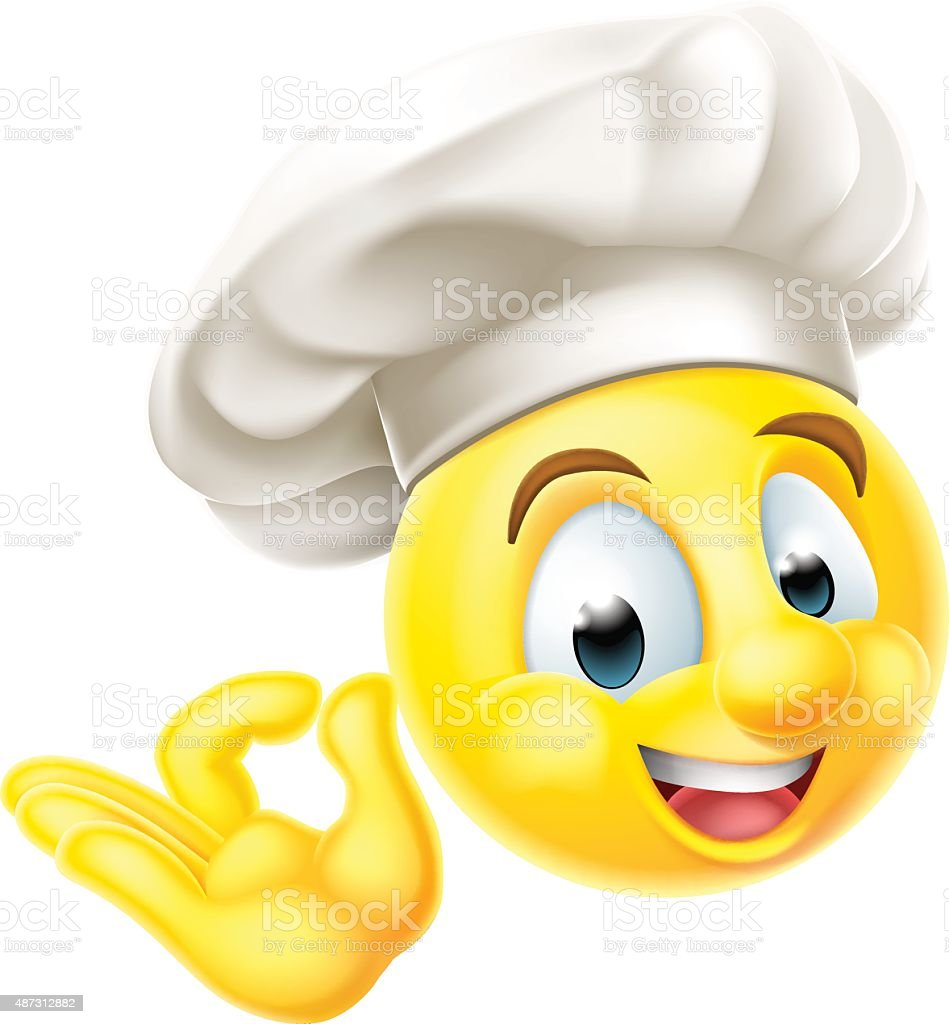 Koch Kochen Mit Emoji Emoticon Vektor Illustration