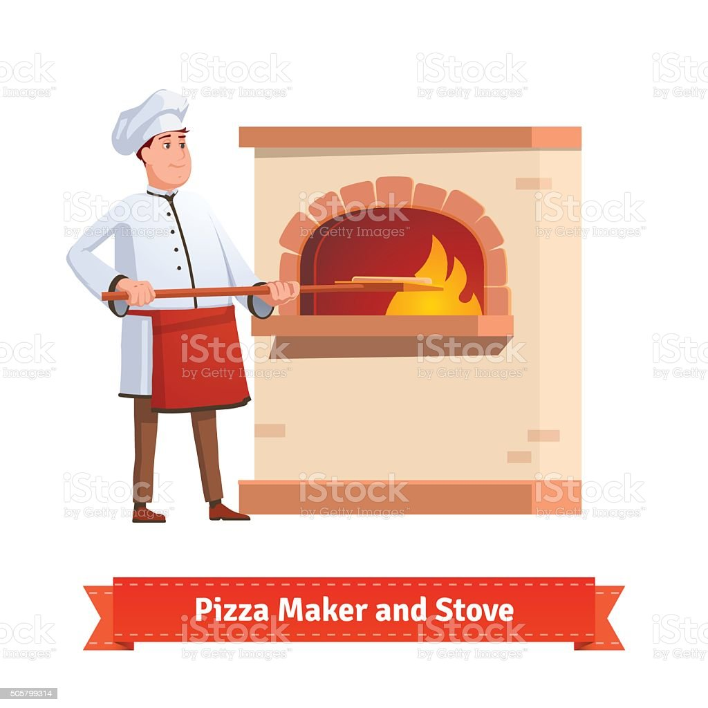 Chef cook putting pizza to a brick stone furnace vector art illustration