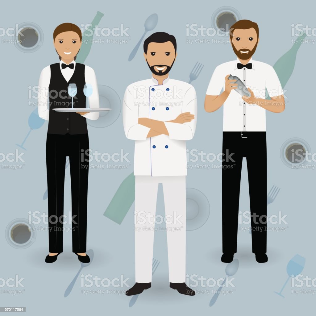 Chef cook, waitress in uniform and barman standing together on a tableware background. Restaurant people characters. vector art illustration
