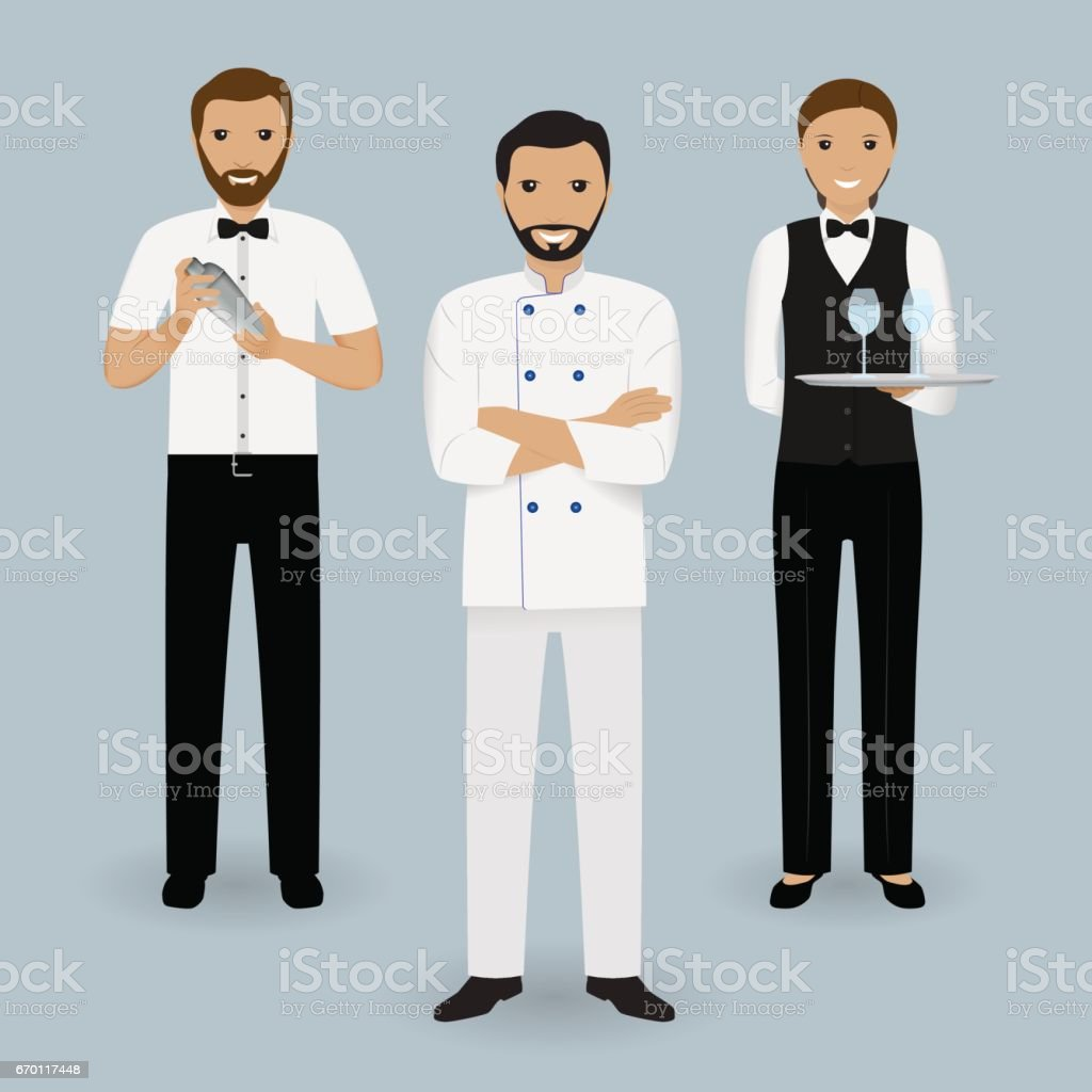Chef cook, waitress in uniform and barman standing together. Restaurant people characters. vector art illustration