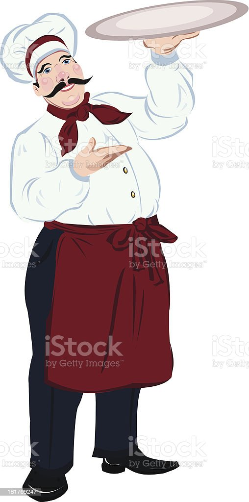 Chef cook with a tray royalty-free stock vector art