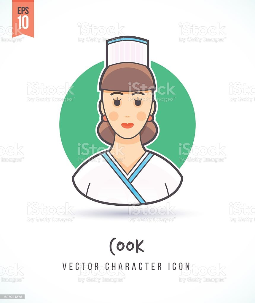 Chef cook woman cartoon illustration vector art illustration