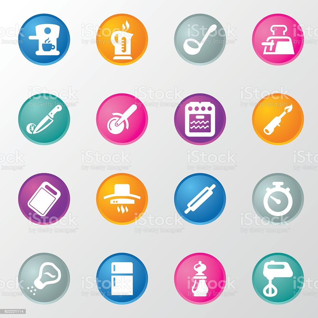 Chef Cooking 1 Circle Color Icons vector art illustration