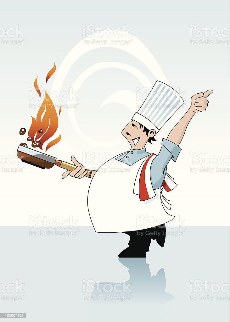 Chef Cooking and tossing food in a Flaming Pan royalty-free stock vector art