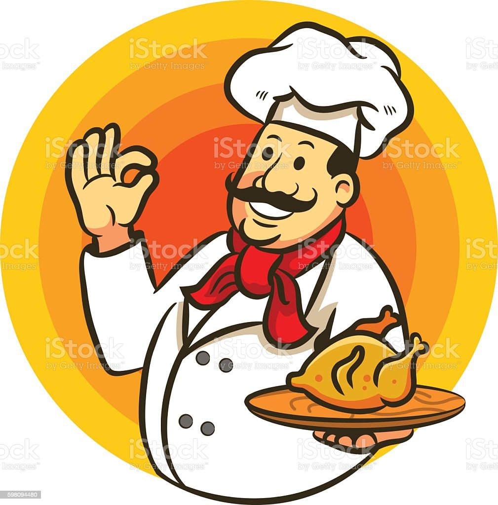 Chef Cooking Fried Chicken And Delicious Sign vector art illustration