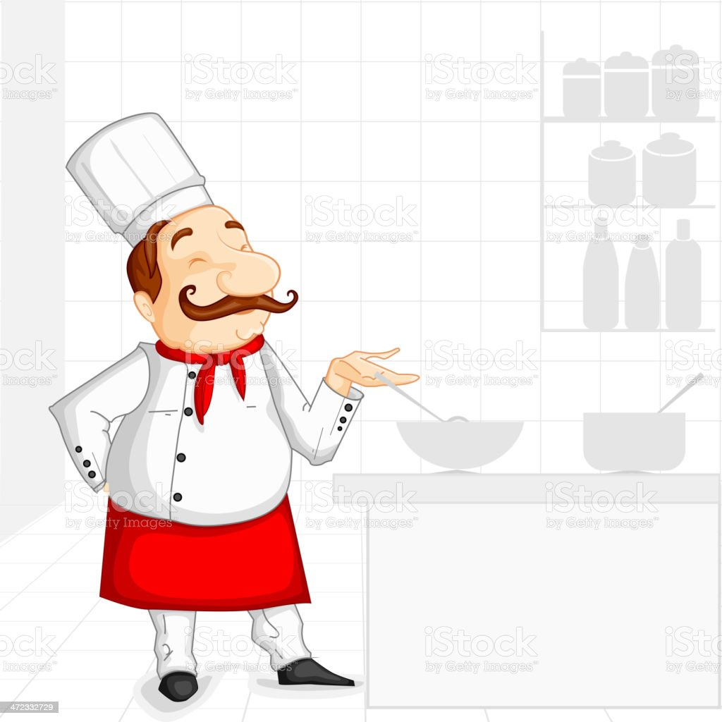Chef cooking in Kitchen royalty-free stock vector art