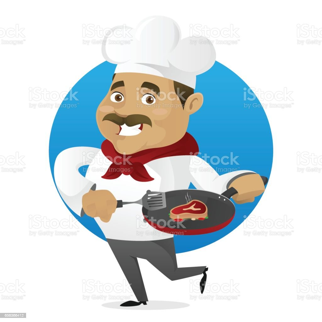 Chef cooking meat vector art illustration
