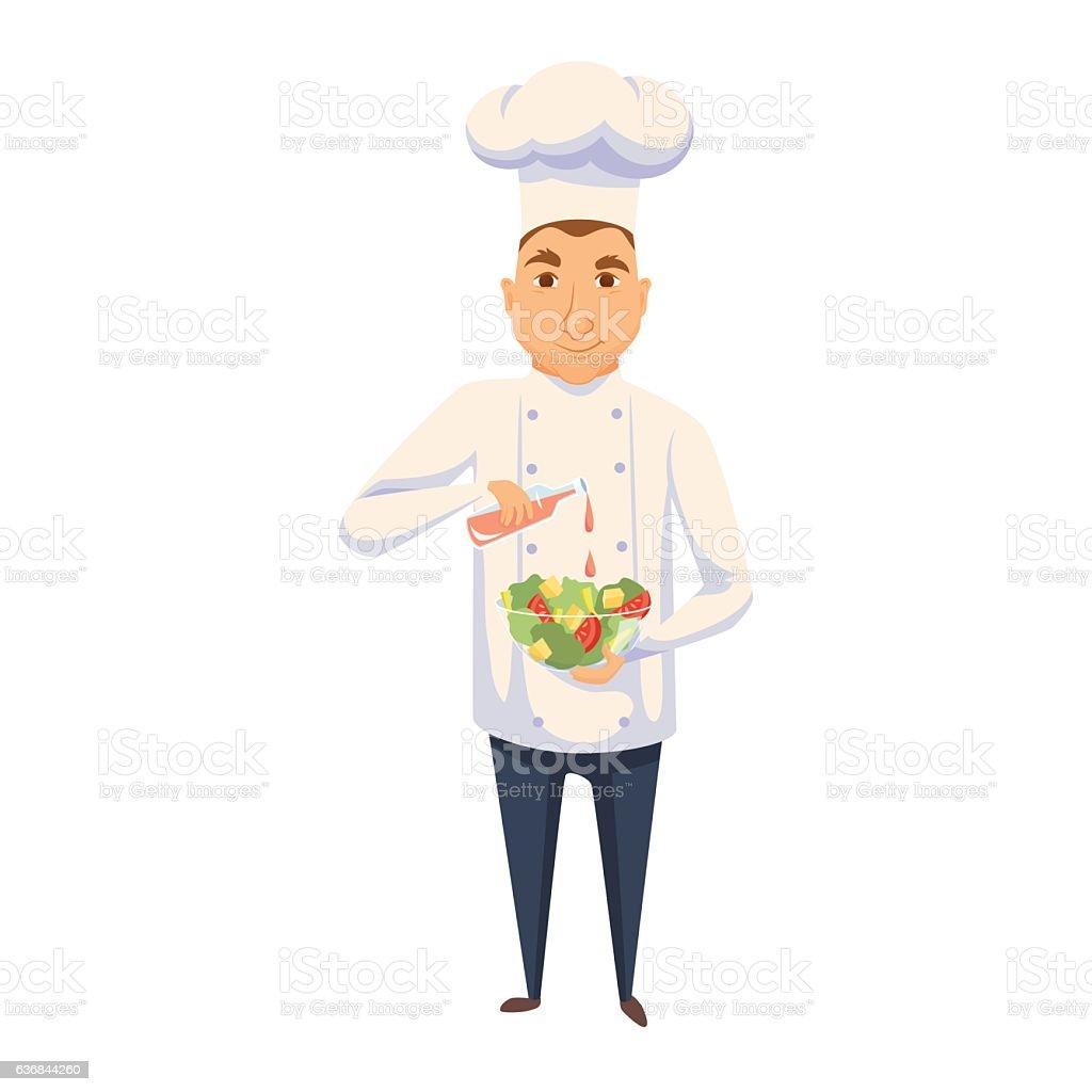 Chef cooking salad vector art illustration