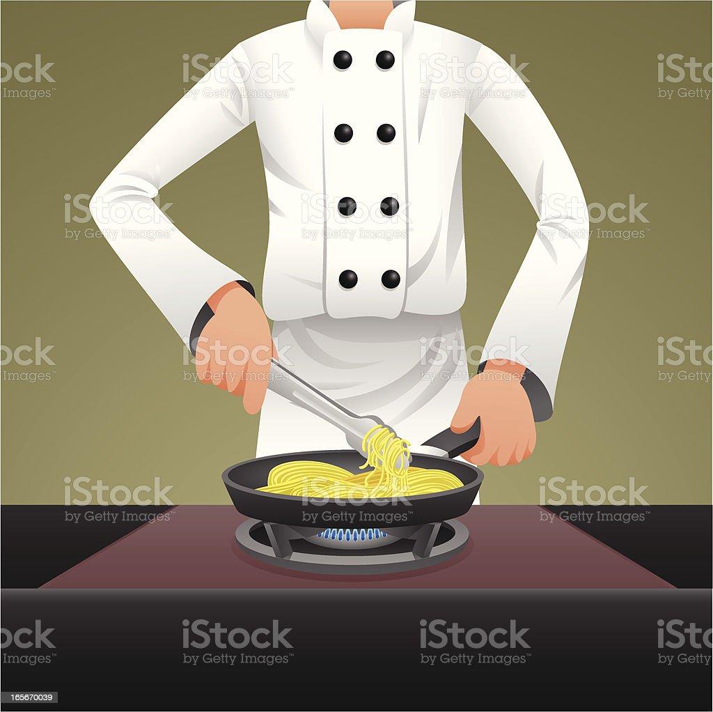 Chef cooking spaghetti vector art illustration