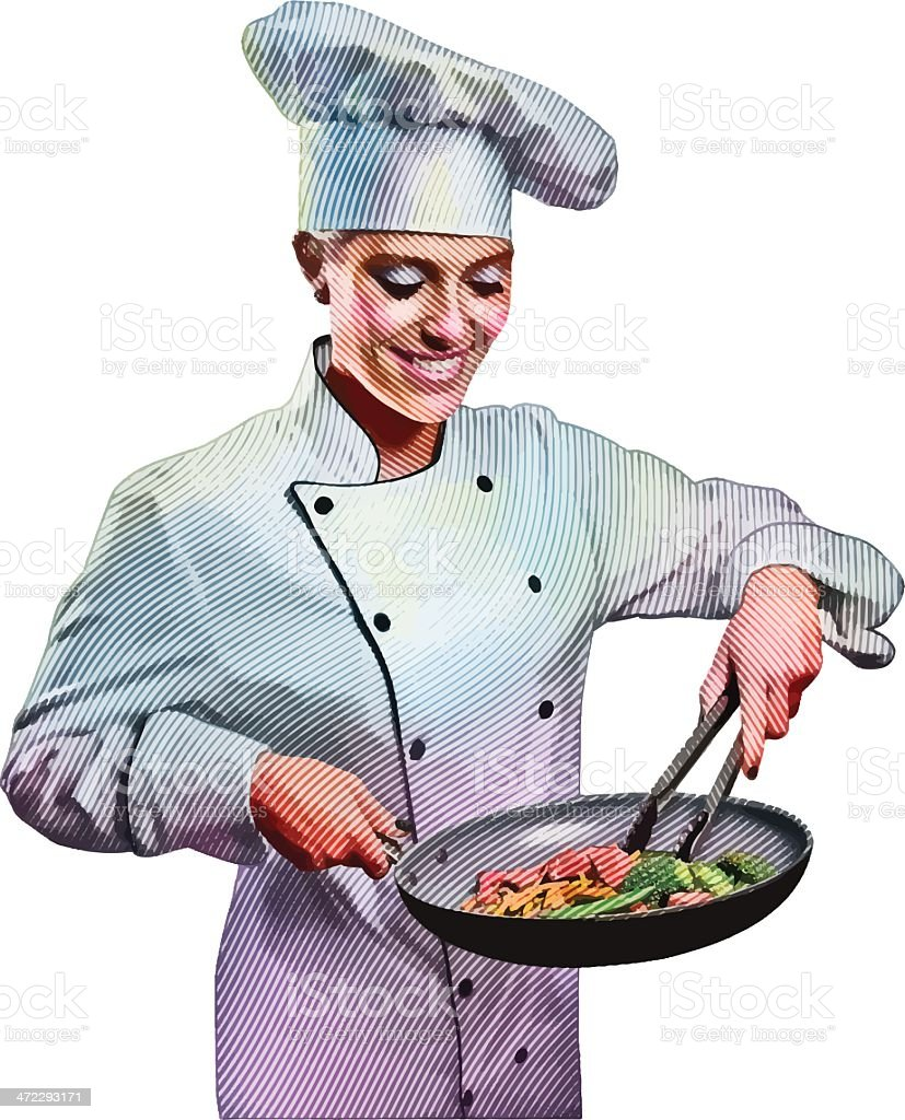Chef Cooking vector art illustration