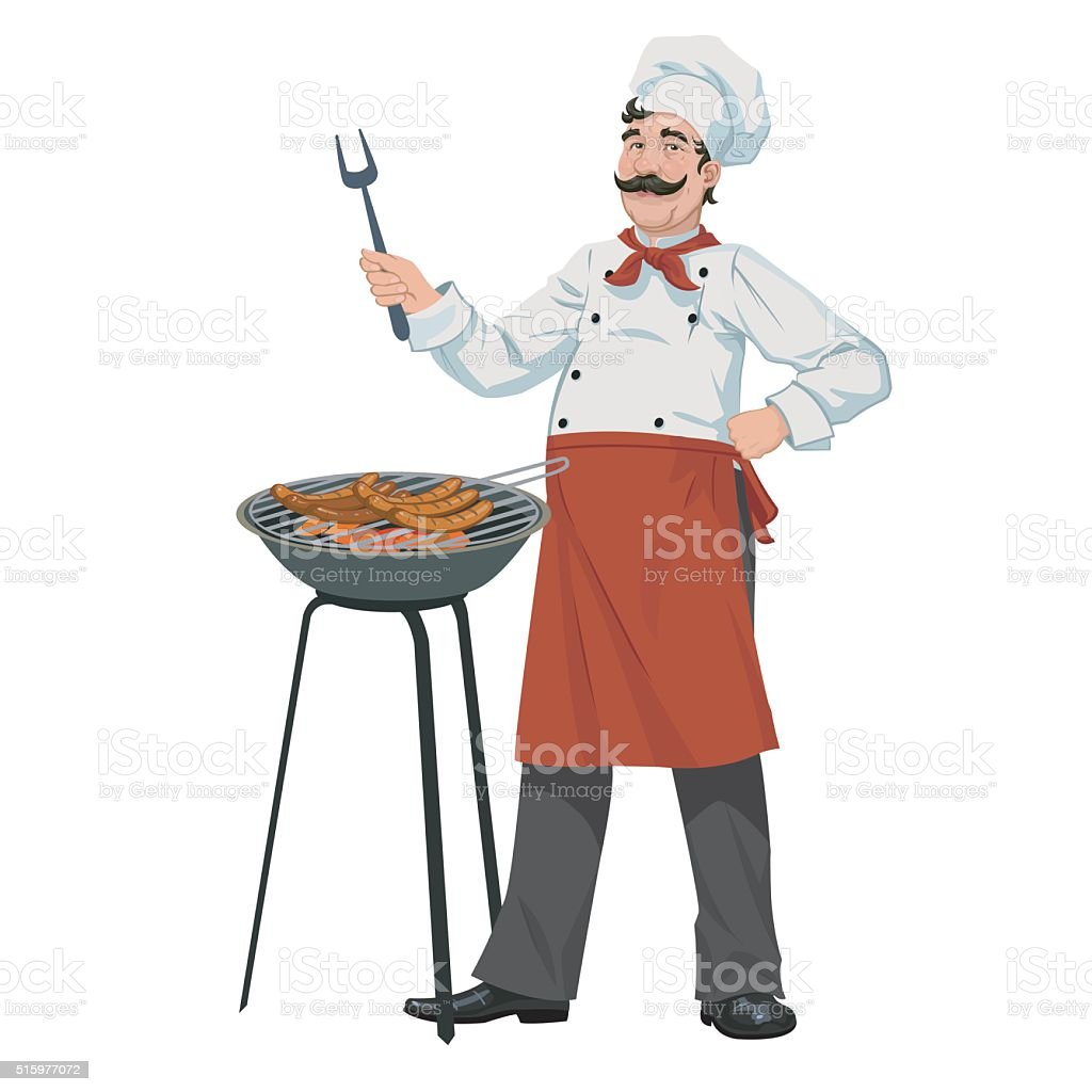 chef cooks barbecue sausages royalty-free stock vector art
