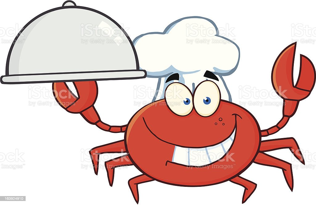 Chef Crab Holding a Platter royalty-free stock vector art