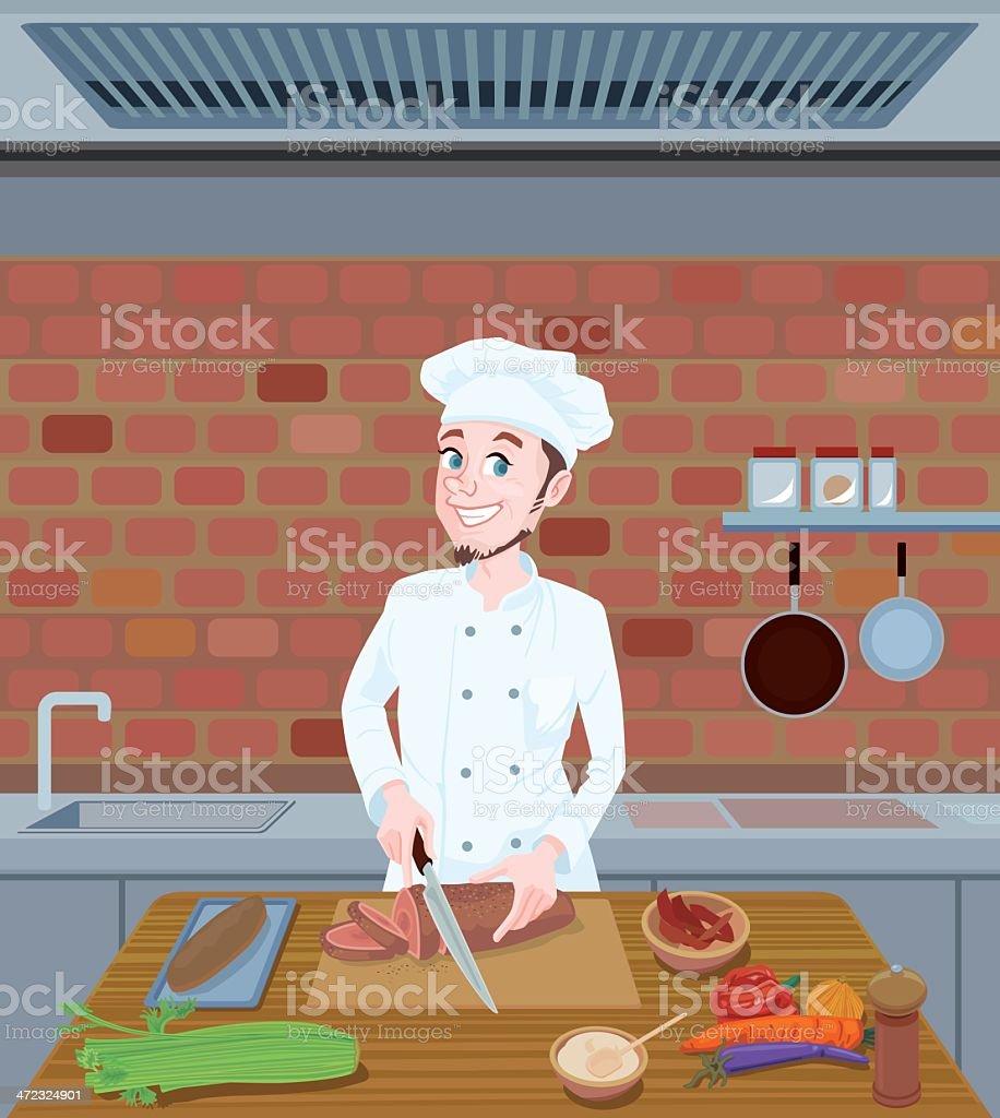 Chef cutting food vector art illustration