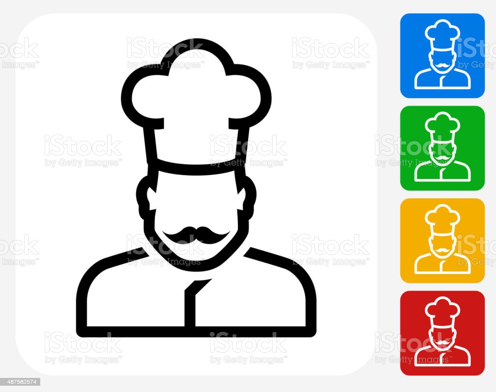 Chef Face Icon Flat Graphic Design vector art illustration