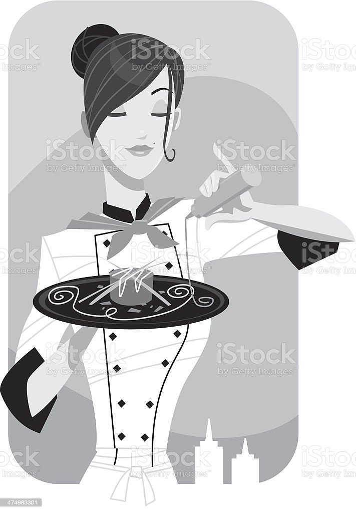 Chef Final Touch vector art illustration