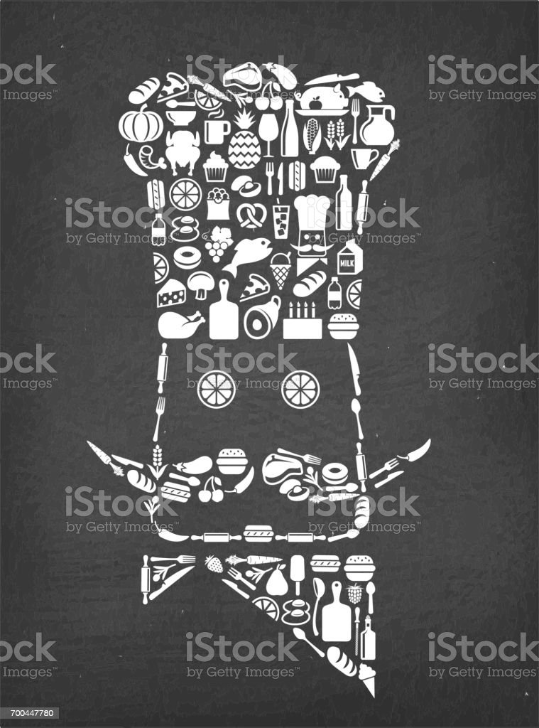 Chef Food & Drink royalty free vector icon pattern. This image...
