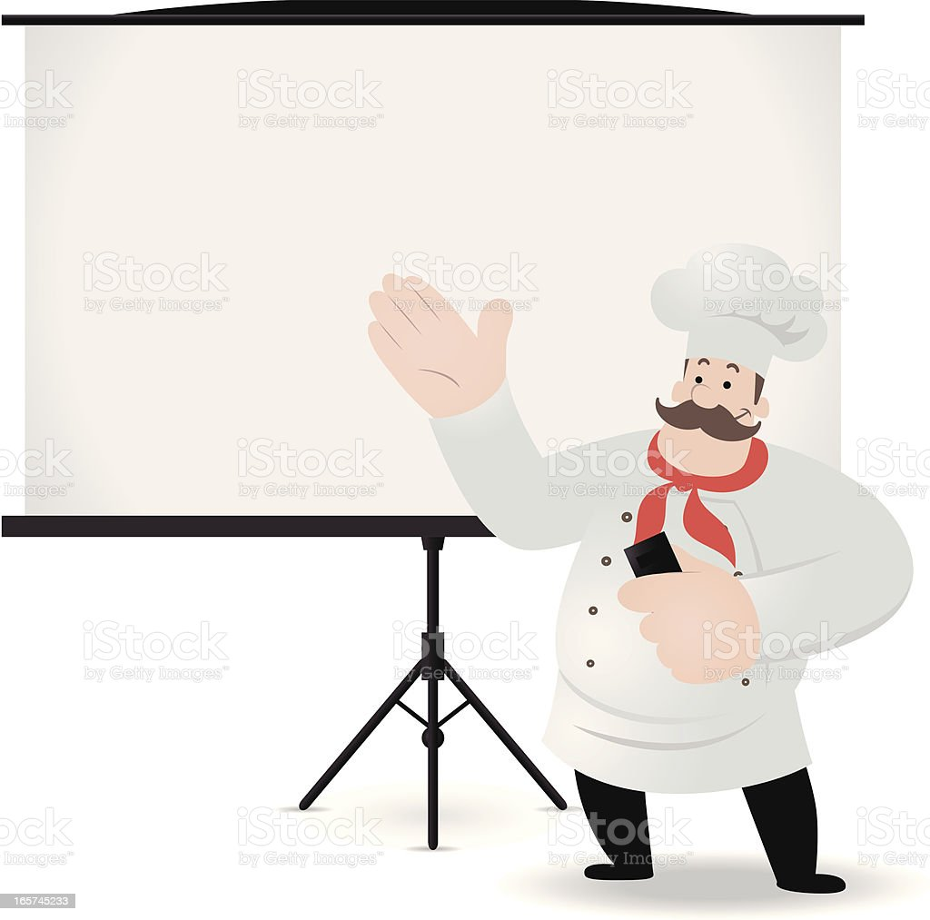 Chef giving a presentation with projection screen vector art illustration