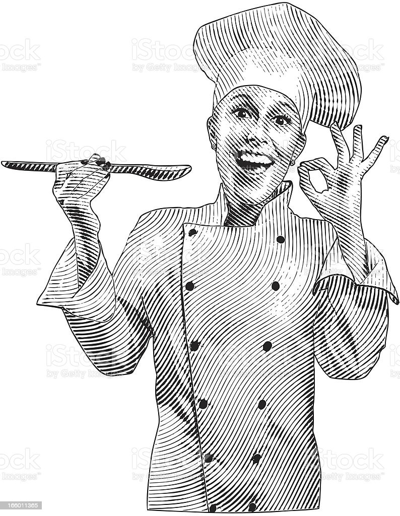 Chef Giving The Delicious Hand Sign royalty-free stock vector art