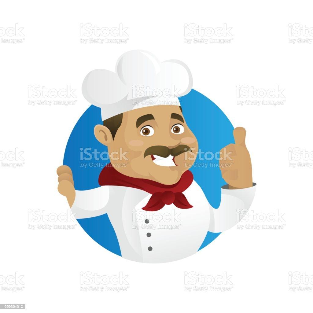 Chef giving thumb up vector art illustration