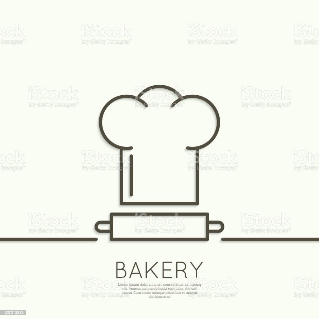 Chef hat and rolling pin for test vector art illustration