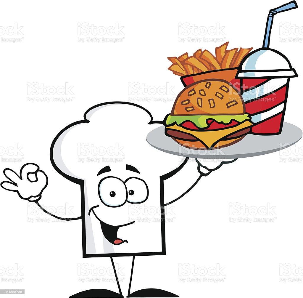 Chef Hat Holding Plate Of Hamburger And French Fries royalty-free stock vector art